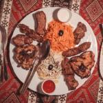 zestaw dla pary, mięso z grilla,dwie surówki, ziemniaki, ryz, sosy